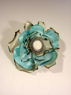 Pin - Scarf or Hat Accessory - Grey and Turquoise Cinched Satin Rose with Vintage Button