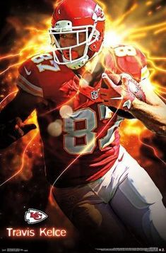 Travis Kelce is ready to take the Kansas City Chiefs into another winning season and playoff berth. Fans in Chiefs Nation will need to add this playmaker to their walls. Our posters are easily framed to make decorating any wall quick and convenient. Travis Kelce, Chiefs Wallpaper, Football Wallpaper, Philadelphia Eagles Players, Kansas City Chiefs Shirts, Nfl Football Players, Football Art, Football Pictures, My Guy
