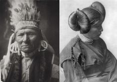 At left, Yellow Bull of the Nez Perce. At right, a Hopi Girl, ca. 1905. (Library of Congress/Edward S. Curtis)
