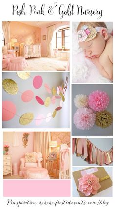 Posh Pink and gold!! Use picture: middle left (dots by Martha S.), middle right (pom-pom flowers), and bottom picture for inspiration