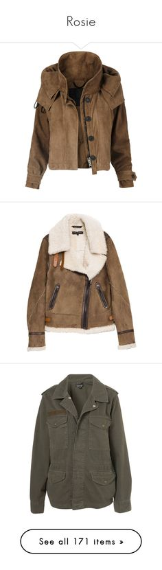 """Rosie"" by theroyalsoformea ❤ liked on Polyvore featuring thewalkingdead, outerwear, jackets, coats, coats & jackets, burberry, womenswear - jackets, brown jacket, cropped jackets and suede leather jacket"