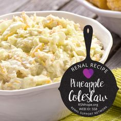 Kidney friendly pineapple coleslaw is a cool and delicious side for your summer barbecue and your winter roasts Renal Diet Dinner Recipes Kidney Disease Diet Recipes Dinner Davita Recipes, Kidney Recipes, Healthy Recipes, Kidney Foods, Healthy Meals, Recipies, Low Potassium Recipes, Low Sodium Recipes, Dialysis Diet