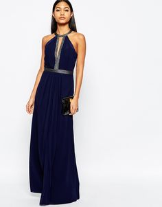 Lipsy Embellished Detail Maxi Dress With Plunge Front