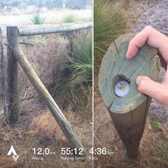 An sneaky geocache hide; this would be easy to miss! You would need an existing hole though or to place the support post yourself; remember you can't make holes in things you don't own! (pic by 5k_a_day_) #IBGCp