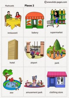 Learn English Vocabulary: Places in the City – ESLBuzz Learning English - Bildung Kids English, English Study, English Class, English Words, English Lessons, English Grammar, Learn English, English Language Learning, Teaching English