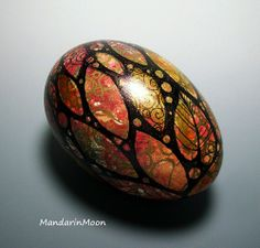 Handpainted Egg with Gold Leaf
