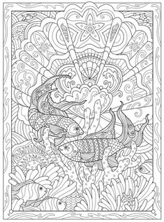 Creative Haven Fanciful Sea Life Coloring Book Abstract Coloring Pages, Flower Coloring Pages, Animal Coloring Pages, Mandala Coloring, Free Coloring Pages, Coloring Books, Coloring Sheets, Mandala Art, Zentangle