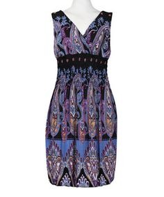 Batik Shirred Surplice Sleeveless Dress by New Yorker's Apparel #zulily #zulilyfinds...SOMETHING ABOUT THE COLOR, LOVE IT!!!