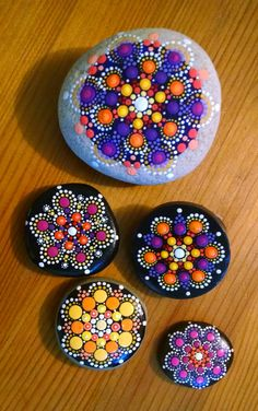 Large Hand Painted Stone_Orbits _Lavender by P4MirandaPitrone