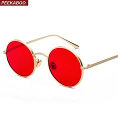 96dec6cdc123 Peekaboo Gold Round Metal Frame Sunglasses Men Retro 2018 Summer Style  Women Red Lens Sun Glasses