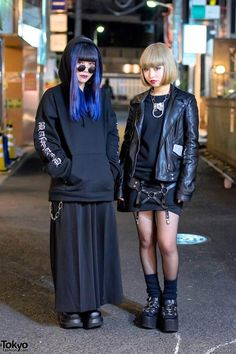 Harajuku girls wearing dark fashion, piercings, platform shoes, and accessories from the popular Japanese boutique Never Mind the XU. Japan Street Fashion, Tokyo Street Style, Tokyo Fashion, Harajuku Fashion, Harajuku Style, Runway Fashion, Harajuku Girls, Estilo Dark, Dark Fashion
