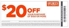 Use these Sports Authority Printable Coupons to get $10 off $50 or $20 off $100 until December 31, 2013.
