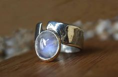 handmade silver ring with moonstone by dunkwoojewelry on Etsy