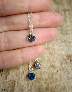 Druzy Necklace Tiny Titanium Druzy Quartz by julianneblumlo