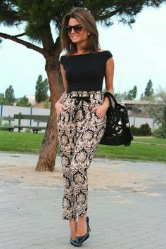 Floral Pants Are Perfect For Office If You Choose A Black & White Combination.