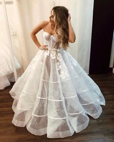 Simple Classy Strapless Ball Gown Wedding Dresses - Strapless Glitter Wedding Dresses See Through Wedding Gown – Viniodress - White Wedding Gowns, Wedding Dress Trends, Dream Wedding Dresses, Bridal Dresses, Gown Wedding, Lace Wedding, Bridesmaid Dresses, Pretty Dresses, Beautiful Dresses