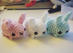 """syppah: """"Dango buns! Might be the last new design for a while, it's getting to be AKon crunch time now. Click """"source"""" to find these bunnies in my etsy shop. """""""