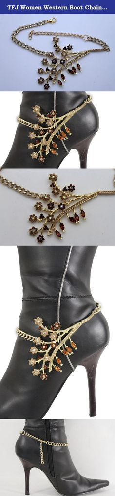 TFJ Women Western Boot Chains Metal Bling Bracelet Big Flower Sun Anklet 2 Mini Hearts Charm Silver. Brand New Western Texas Style Cowgirls Fashion Sexy Boot Chain Fancy Bracelet - Summer Spring SOLD INDIVIDUALLY - Made in the USA We make this item ourselves Special And Unique Western Ladies Fashion Single Boot / High Heels Shoes Strap Chain Charm Anklet Bracelet - One Side You are buying a single Strap Condition: Brand new Color: Gold metal chains and charm + brown rhinestones Size: One...
