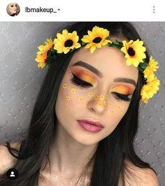 Sunflower crown🌻. Edgy Makeup, Makeup Eye Looks, Eye Makeup Art, Colorful Eye Makeup, Crazy Makeup, Cute Makeup, Gorgeous Makeup, Skin Makeup, Eyeshadow Makeup