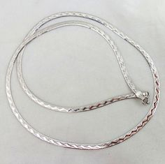 Estate 18K White Gold Italian Herringbone w/ Ribbon Accent Necklace from riverroadcollectibles on Ruby Lane