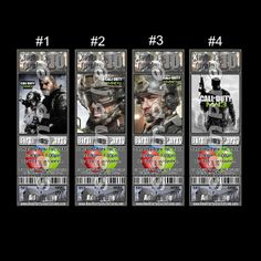 CALL OF DUTY MW3 TICKET STYLE INVITATIONS (WITH ENVELOPES)