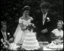 Their Wedding 12-9-1953  At Hammersmith Farm in Newport, Rhode Island,  ♚✾❀★❃❤❁♛❤✾❤✾❤❁❤❃❤❁❤❁❤❁❤❁❤❁❤ http://en.wikipedia.org/wiki/Hammersmith_Farm    http://en.wikipedia.org/wiki/Wedding_dress_of_Jacqueline_Bouvier