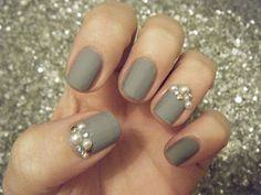 Grey Nails with pearls, studs and diamonds. Really cute but I'm just not sure about how big the pearls are! I think Dainty would be much better