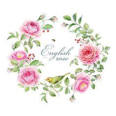 #watercolor #painting #illustration #art #wreath #wedding #invitation #englishrose #rose #flowers #aquarelle