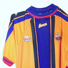 1997-98 Barcelona Away Shirt L - classic kappa Barca shirt. Get yours in our shop now. DM for best offers #football #footballshirt #footballshirtcollective #laliga #kappafootball #kappa #fcb #fcbarcelona #barcelona #classicfootball #vintagefootball