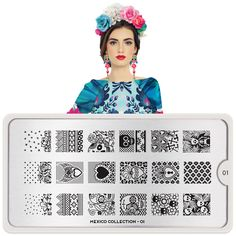 Meet Maria! MoYou-London's Mexico Nail Art Collection is all about Aztec-inspired patterns, Day of the Dead skulls, fiery fiesta flowers, Talavera tile designs, and more. Viva México! ● MoYou-London Mexico01 includes 18 different designs, each measuring 1.2 x 1.5cm. ● The stainless steel plate measures 6.5 x 12.5cm and have a vinyl backing for increased ease of use. ● Each plate comes in its own branded protective sleeve. ● The designs are engraved on to the image plate and covered with…