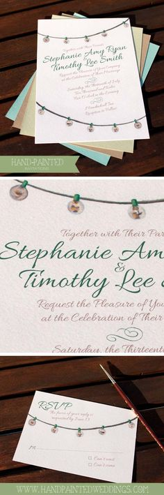 String Lights Invitation by Hand-Painted Weddings Invitation Card Design, Invitation Cards, Summer Barbeque, Wedding Venues, Wedding Ideas, Watercolor Wedding Invitations, String Lights, Save The Date, Getting Married