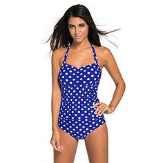 efb2b443fc916 Plus Size Vintage One Piece Swimsuit Polka Dot Women Sexy Swim wear Female  Print Monokini Bodysuit Bathing Suit XXL
