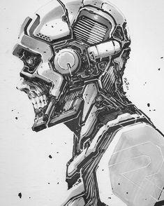 68/356 [16.03.2017] More skulzz!! #art #arthabit #artdaily #pentelbrushpen #artmarkers #scifi #traditionalart #cyberpunk #mangaart #comicart #marchofrobots #cyborg #rome_adzan