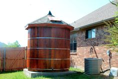 Here in north Texas we experience frequent dry conditions in the summer. We built a rainwater collection cistern out of western red cedar . Rainwater Cistern, Water From Air, Soil Layers, Water Collection, Rainwater Harvesting, Water Storage, Water Systems, Water Tank, Backyard Landscaping