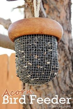 "Repurposed thrift store wooden salad bowl ""acorn"" bird feeder"
