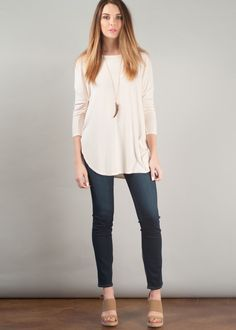 Michael Stars delivers your wardrobe's rising star with this marled knit ribbed tunic. Its back neck detailing and flowing style pairs easily with your favorite leggings for a relaxed comfortable look. #stayhip #atlantashops #atlanta #basics #michaelstars