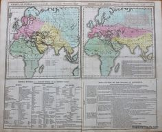 "World Known to Ancients and Division of the Earth - 1821- Lavoisne's Atlas, published by Carey & Sons, plus detailed descriptions around border divisions of earth by continent, climate, and zones, chronological account about celebrated navigators, and more, 2 sheets total dimensions of both together are about 17""h x 20 1/2""w. Maker: Lavoisne, $150.00 http://www.mapsofantiquity.com/store/Antique_Maps_-_World/World_Known_to_Ancients_and_Division_of_the_Earth/inventory.pl?id=WOR088#.U6Xg3fldV8E"