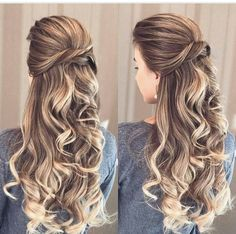 Pin by naomi de on grade dance in 2019 hair styles, bridal hair inspira Prom Hairstyles For Long Hair, Elegant Hairstyles, Down Hairstyles, Pretty Hairstyles, Braided Hairstyles, Wedding Hairstyles, Curly Hair For Prom, Long Prom Hair, Simply Hairstyles