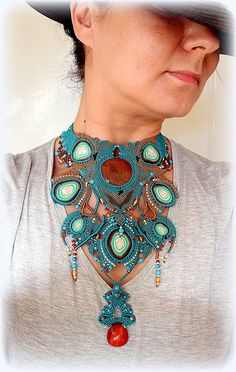 MASSIVE BOHO Knotted Modern Macrame Necklace, Fire Agate Cabochon, Agate Pendant, Turquoise Beads, Glass Beads, Polymer Clay Cabochons