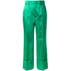 Gucci Duchesse wide leg cuffed trousers (€1.185) ❤ liked on Polyvore featuring pants, capris, green, cuff pants, green wide leg pants, green pants, cuffed cropped pants and retro pants