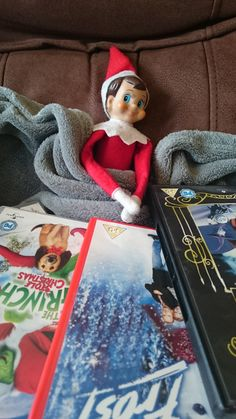 Elf having a snuggled DVD night in