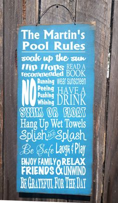 Personalized Pool Rules sign  pool decor by FarmhouseChicSigns, $34.95