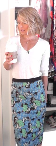 Kelly Ripa in a Majestic top from @neimanmarcus, and Marni Skirt. LIVE with Kelly and Michael Fashion Finder