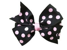 Black & pink polka dot hair bow by BrownEyedBowtique on Etsy, $5.00