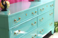 Gloss Turquoise Dresser Fine Paints of EuropeFine Paints of Europe Redo Furniture, Decor, High Gloss Furniture, Refinishing Furniture, French Style Homes, European Home Decor, Refurbished Furniture, French Style Bedroom, Furniture