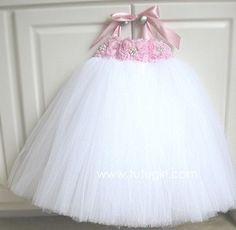 Ballet Pink / White Tutu Dress - PETALS 'A LA MODE