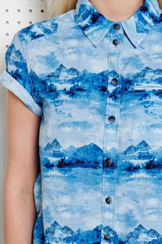 BDG Roll Sleeve Button Shirt at Urban Outfitters mountain print