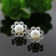 Sterling silver micro inlays CZ pearl flower stud earrings