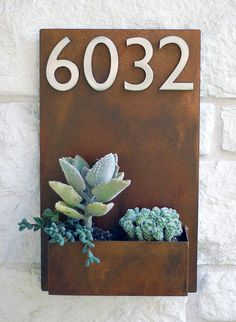 Succulent hanging planter and address plaque