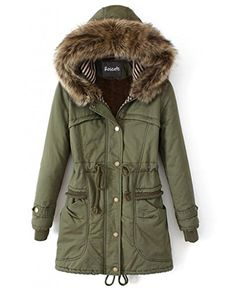 Roseate Women's Long Quilted Coat Green Casual Parkas with Faux Fur Hood *** Check this awesome item by going to the link at the image.